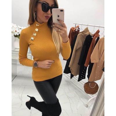 Жълта блуза рипс с копчета