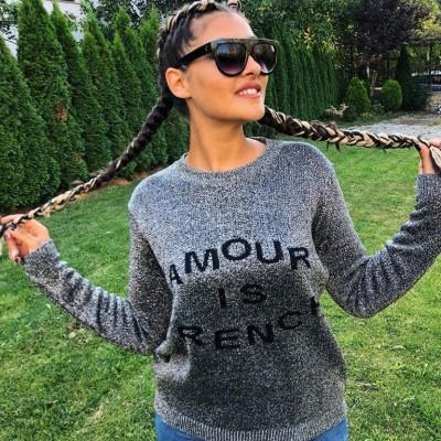 Сребрист пуловер Amour