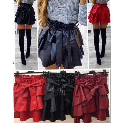 Кожена пола с воали бордо