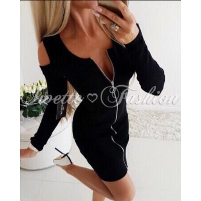 Черна рокля рипс с цип