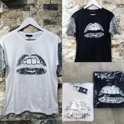 Черна тениска с уста и пайетени ръкави